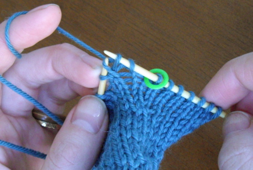 knitting into leg